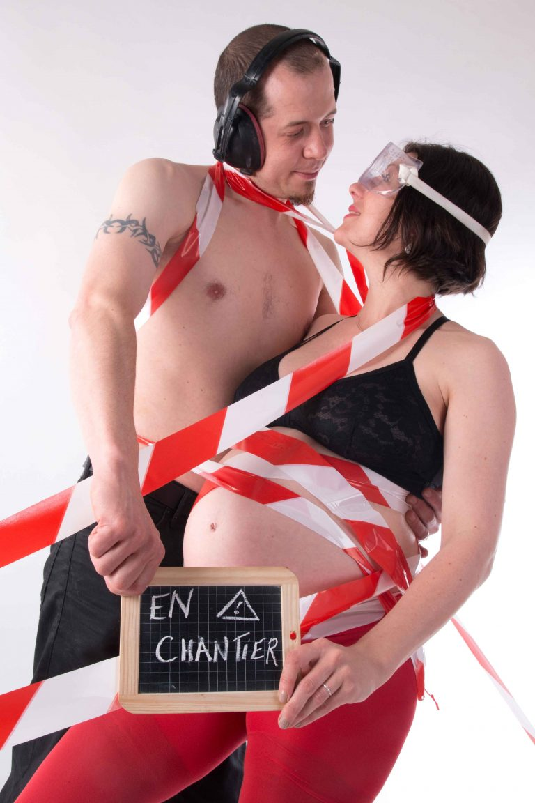 photo de grossesse : séance photo couple humour